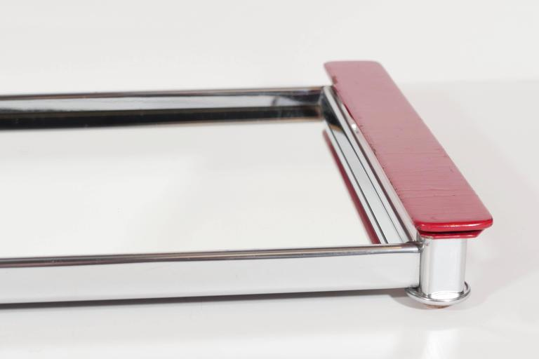 Art Deco Mirrored Bar Tray with Red Lacquered Handles In Good Condition In Fort Lauderdale, FL