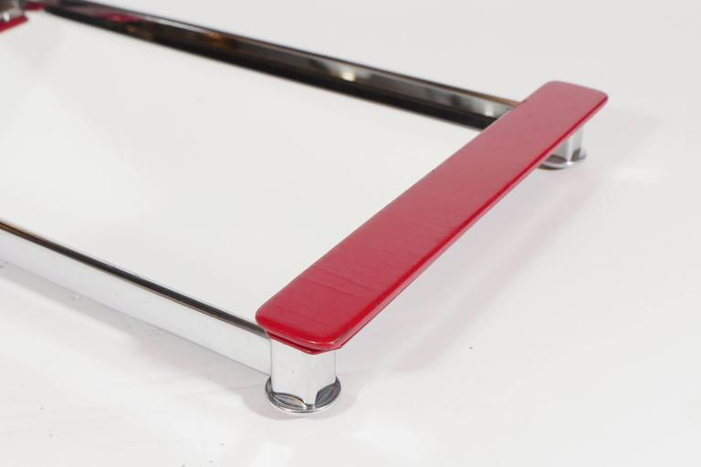 Mid-20th Century Art Deco Mirrored Bar Tray with Red Lacquered Handles