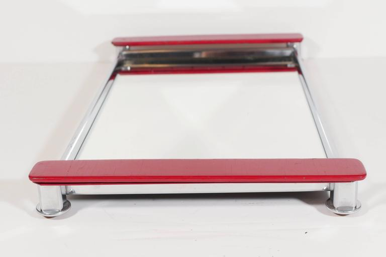 Chrome Art Deco Mirrored Bar Tray with Red Lacquered Handles