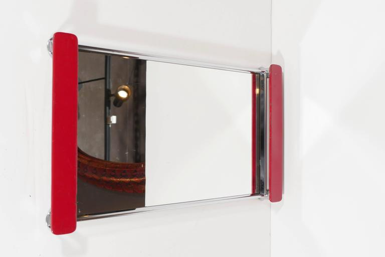 Art Deco Mirrored Bar Tray with Red Lacquered Handles 1