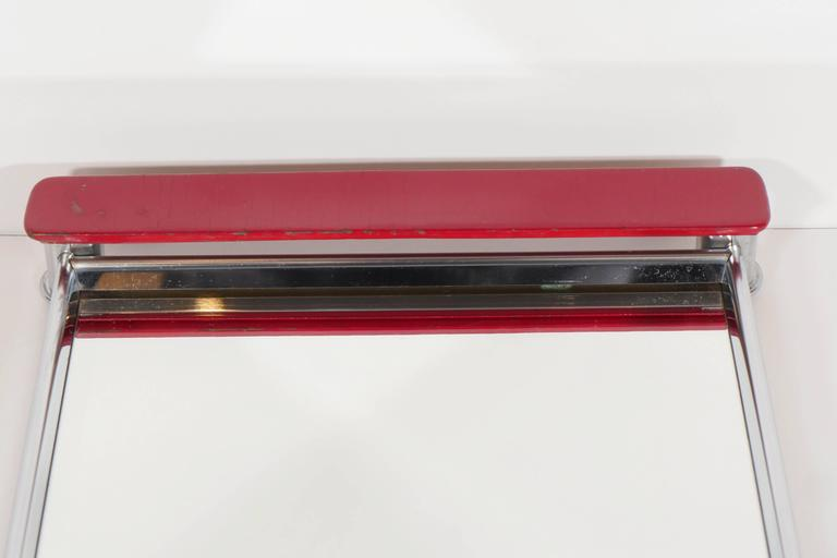 Art Deco Mirrored Bar Tray with Red Lacquered Handles 3