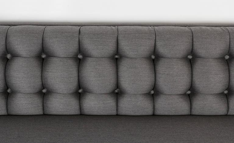 Mid-Century Modern Tufted and Sleek Custom Tuxedo Sofa For Sale