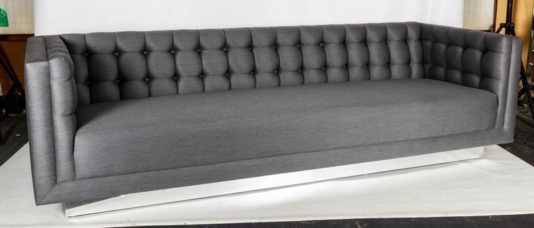 American Tufted and Sleek Custom Tuxedo Sofa For Sale