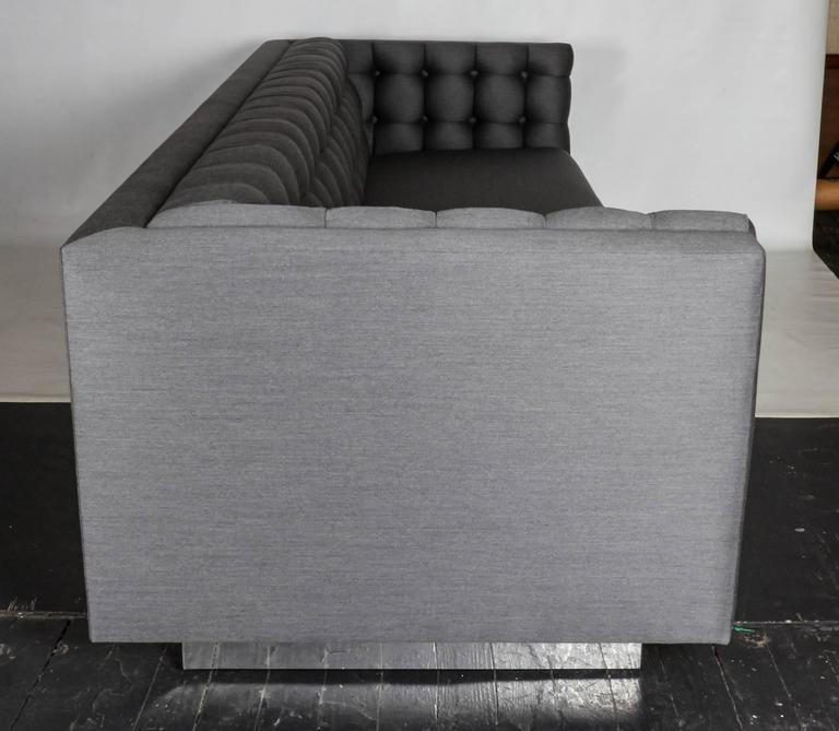 Tufted and Sleek Custom Tuxedo Sofa In Good Condition For Sale In New York, NY