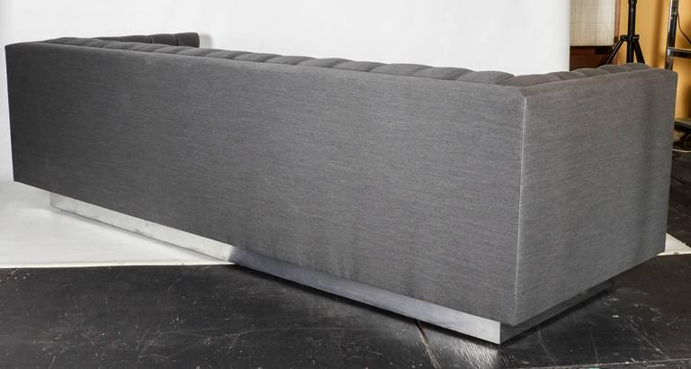 Contemporary Tufted and Sleek Custom Tuxedo Sofa For Sale