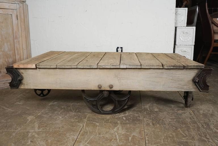 American Vintage Industrial Cart Coffee Table For Sale