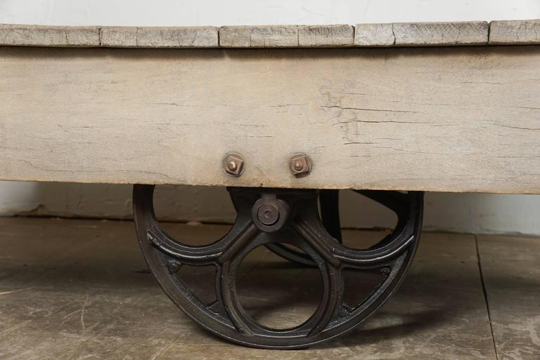 20th Century Vintage Industrial Cart Coffee Table For Sale
