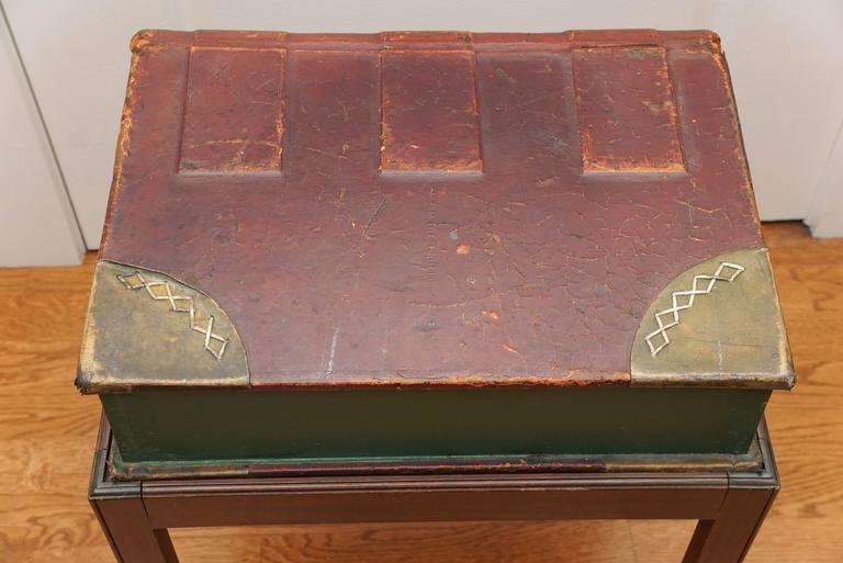 English Large Leather Book on Mahogany Stand For Sale