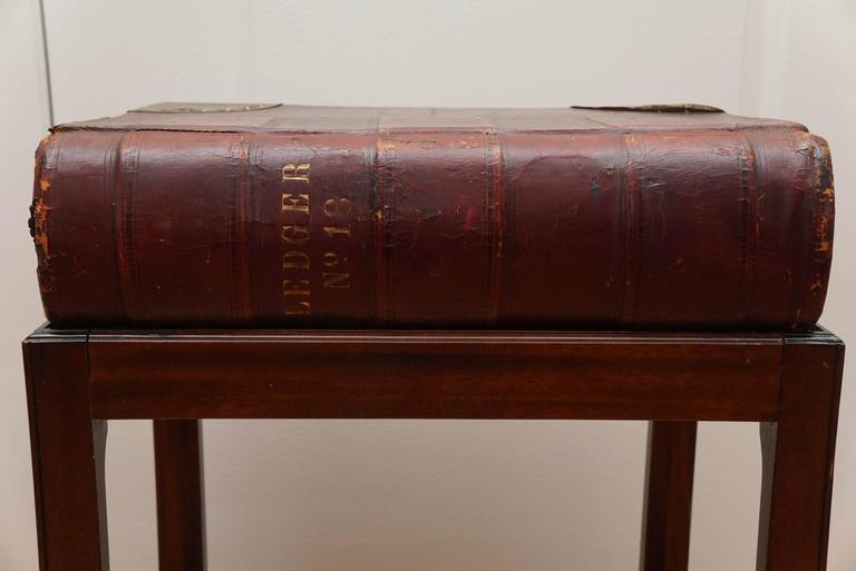 Mid-20th Century Large Leather Book on Mahogany Stand For Sale
