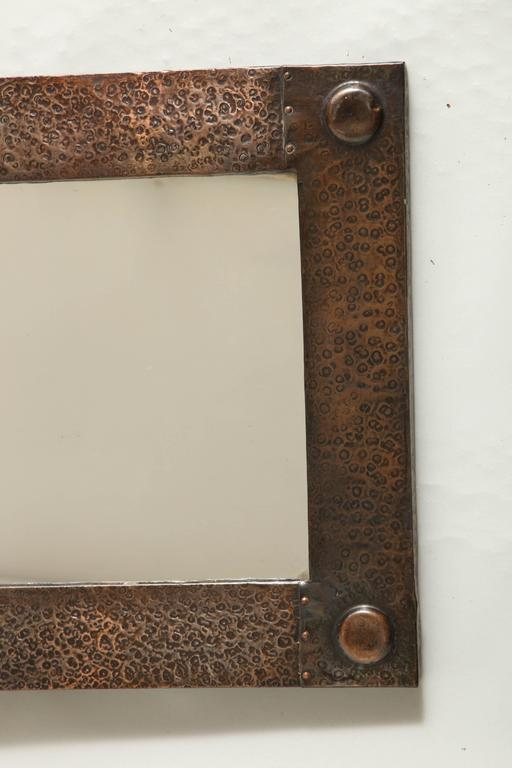 English Arts And Crafts Hammered Copper Mirror At 1stdibs