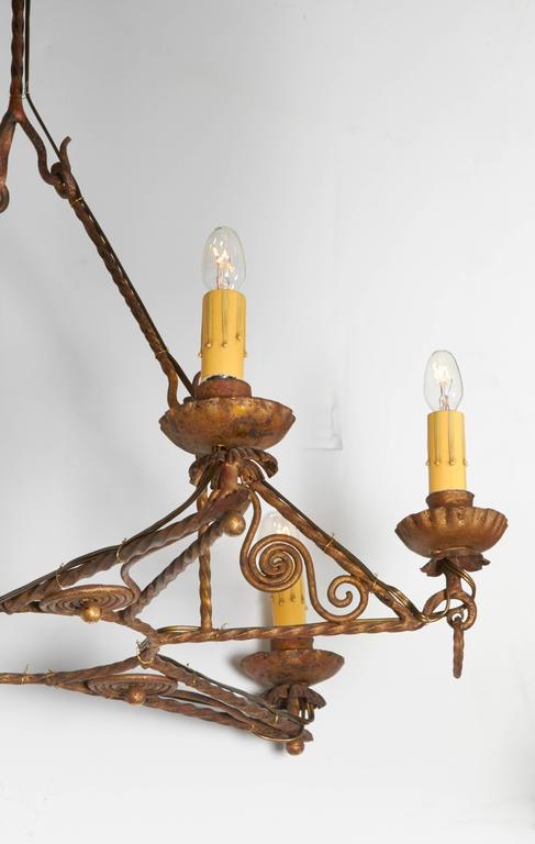Italian 1920s Art Deco Gilt Iron Chandelier In Good Condition For Sale In New York, NY