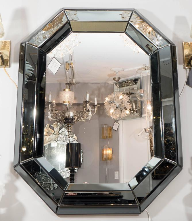 Custom beveled gray glass octagon mirror. Customization is available in different sizes and glass colors.
