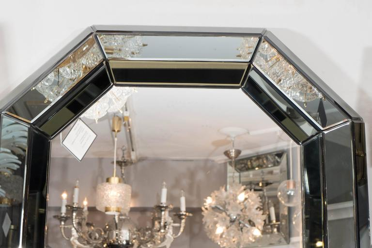 American Beveled Gray Glass Octagon Mirror For Sale