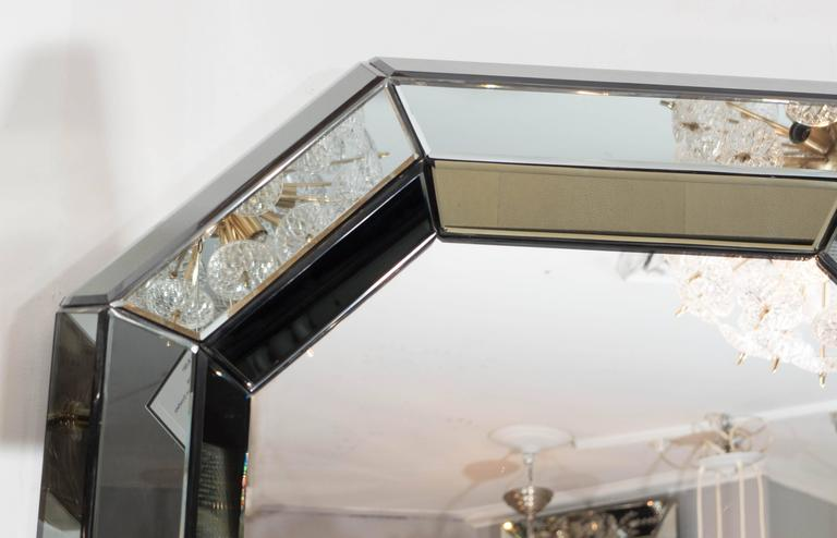 Beveled Gray Glass Octagon Mirror In New Condition For Sale In New York, NY