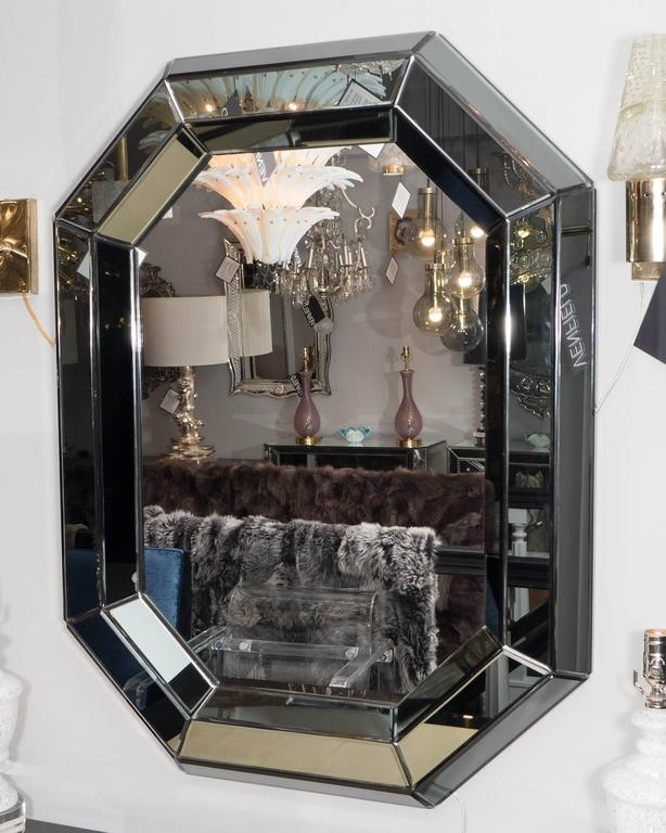 Modern Beveled Gray Glass Octagon Mirror For Sale
