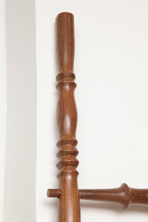 Turned Teak Wood Decorative Ladder For Sale