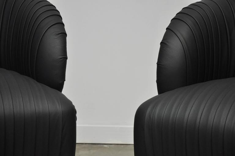 Pleated Leather And Brass Swivel Chairs At 1stdibs