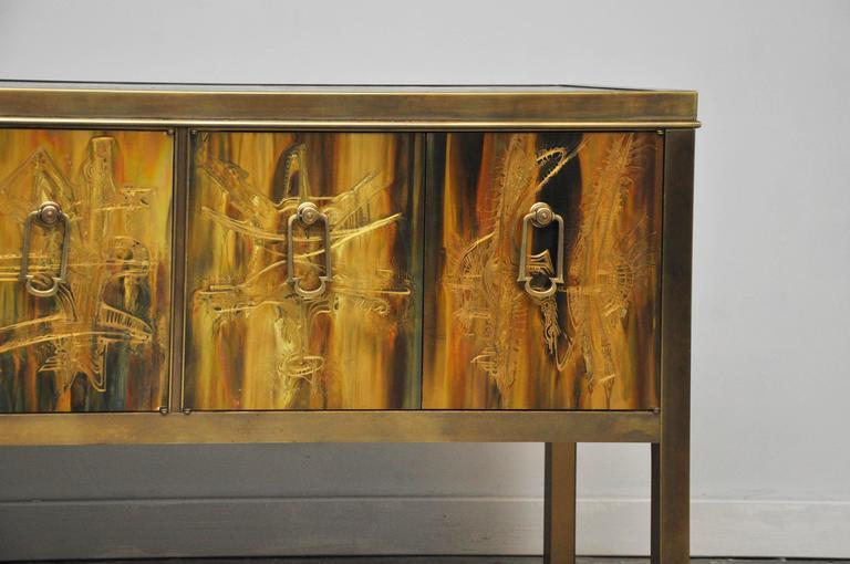 Mid-Century Modern Mastercraft Brass Credenza by Bernhard Rohne For Sale