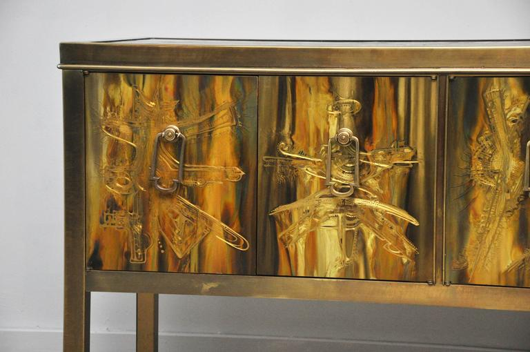 American Mastercraft Brass Credenza by Bernhard Rohne For Sale