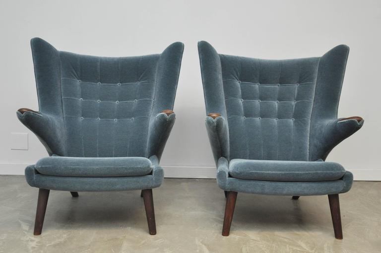 American Pair of Hans Wegner Papa Bear Chairs For Sale