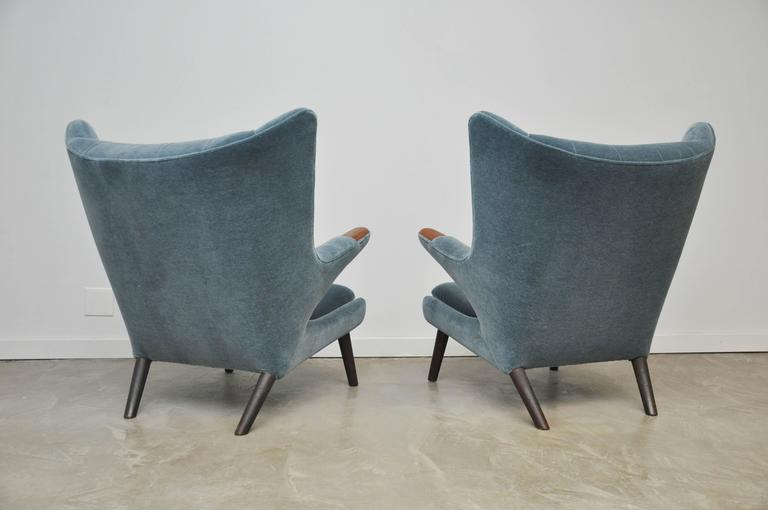Mohair Pair of Hans Wegner Papa Bear Chairs For Sale