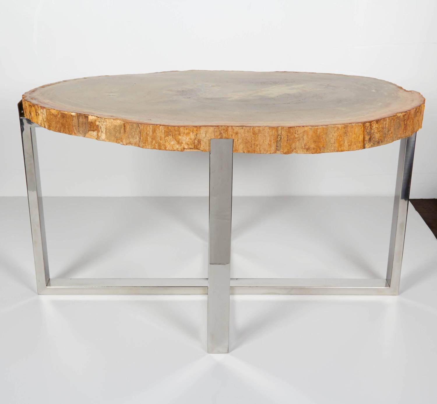 Exquisite Petrified Wood Side Table With Custom Chrome Base At 1stdibs