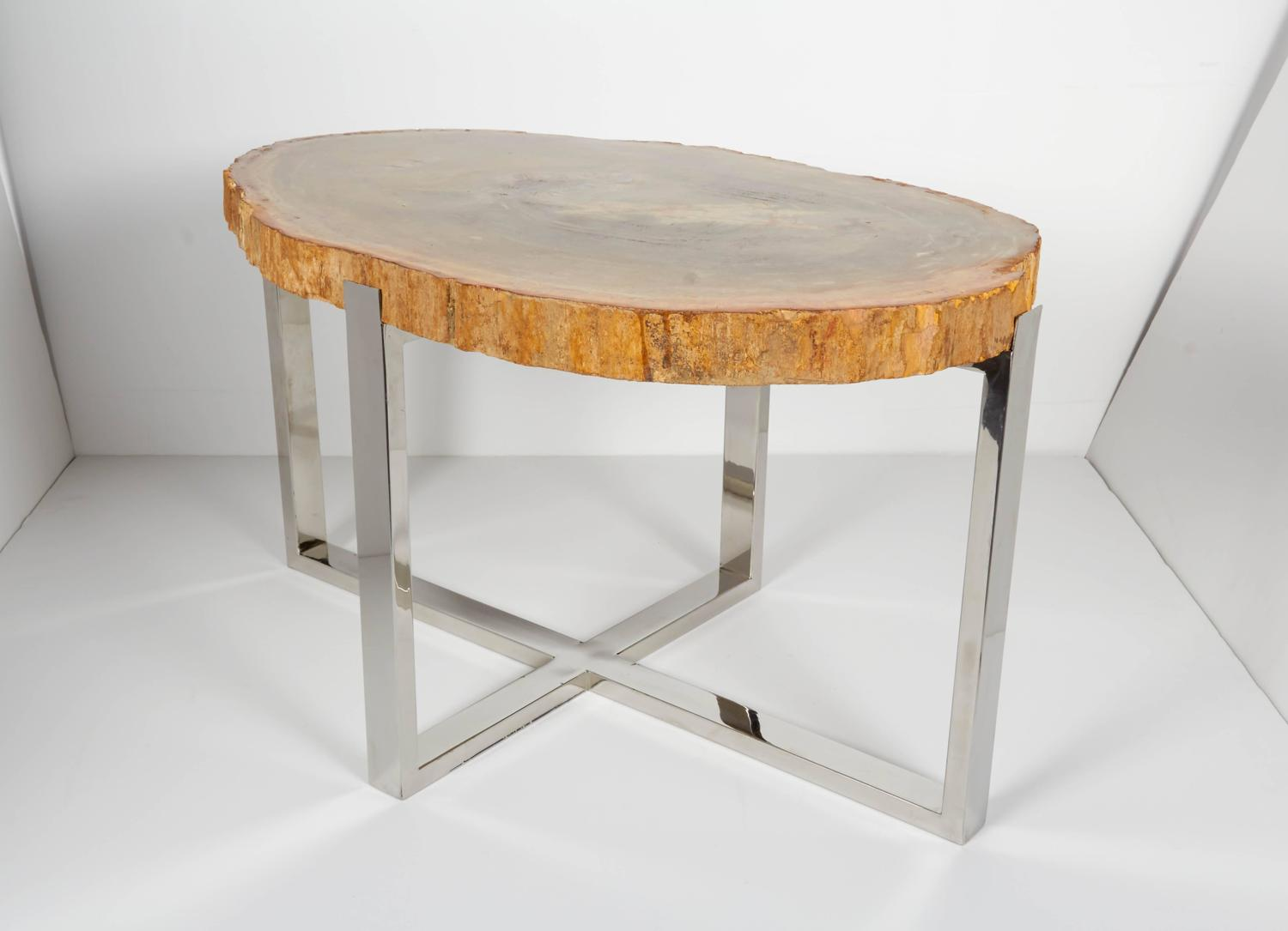 Exquisite petrified wood side table with custom chrome