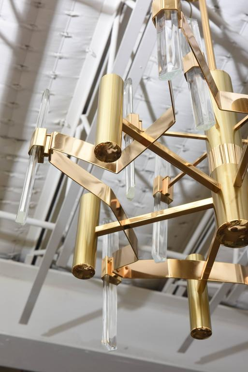 Gold-Plated Brass and Crystal Chandelier by Gaetano Sciolari For Sale 1