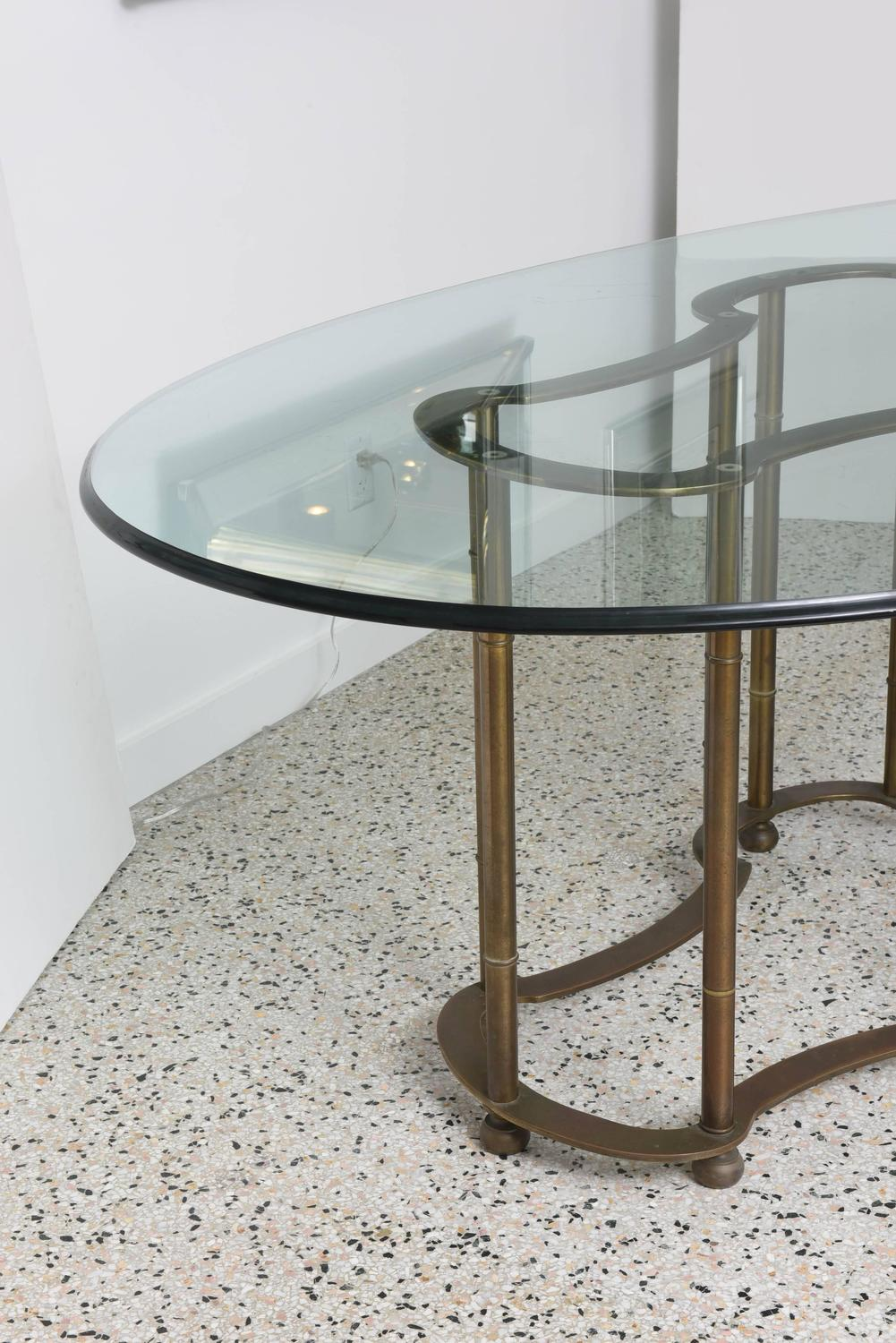 mastercraft hollywood regency race track dining table brass faux bamboo at 1stdibs. Black Bedroom Furniture Sets. Home Design Ideas