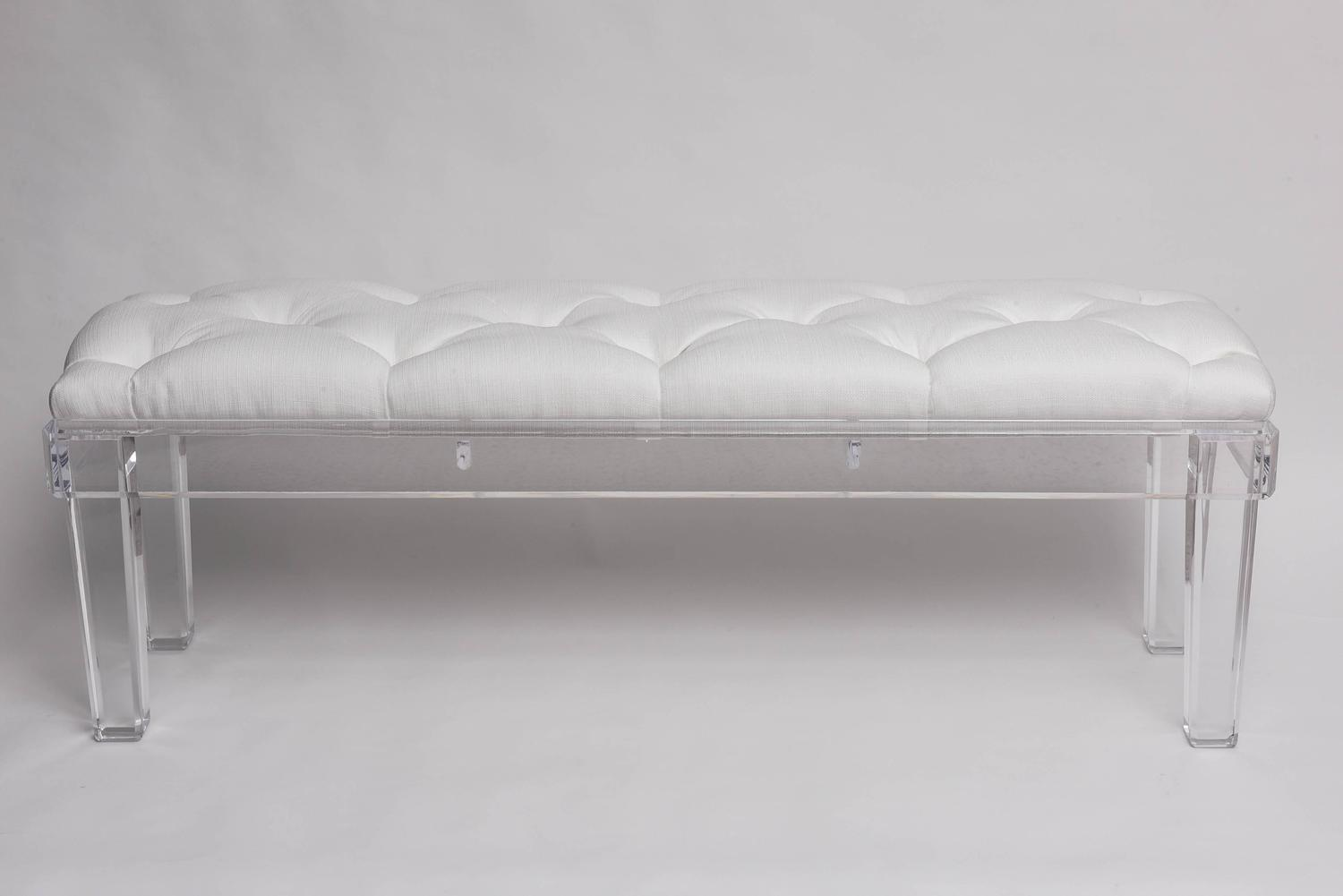 Bespoke Hollywood Regency Glam Lucite Bench With White Button Tufted Fabric At 1stdibs