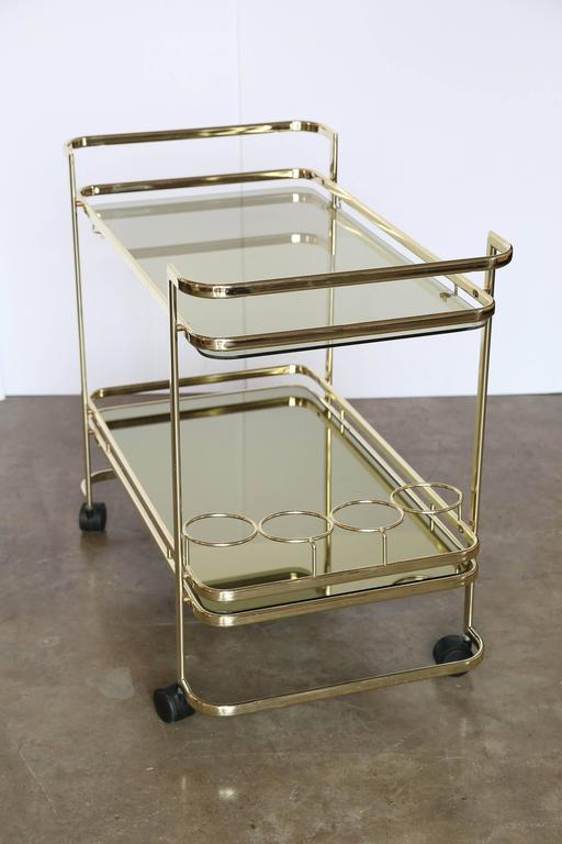 Gold Metal Glass And Mirror Two Tier Bar Tea Cart Or