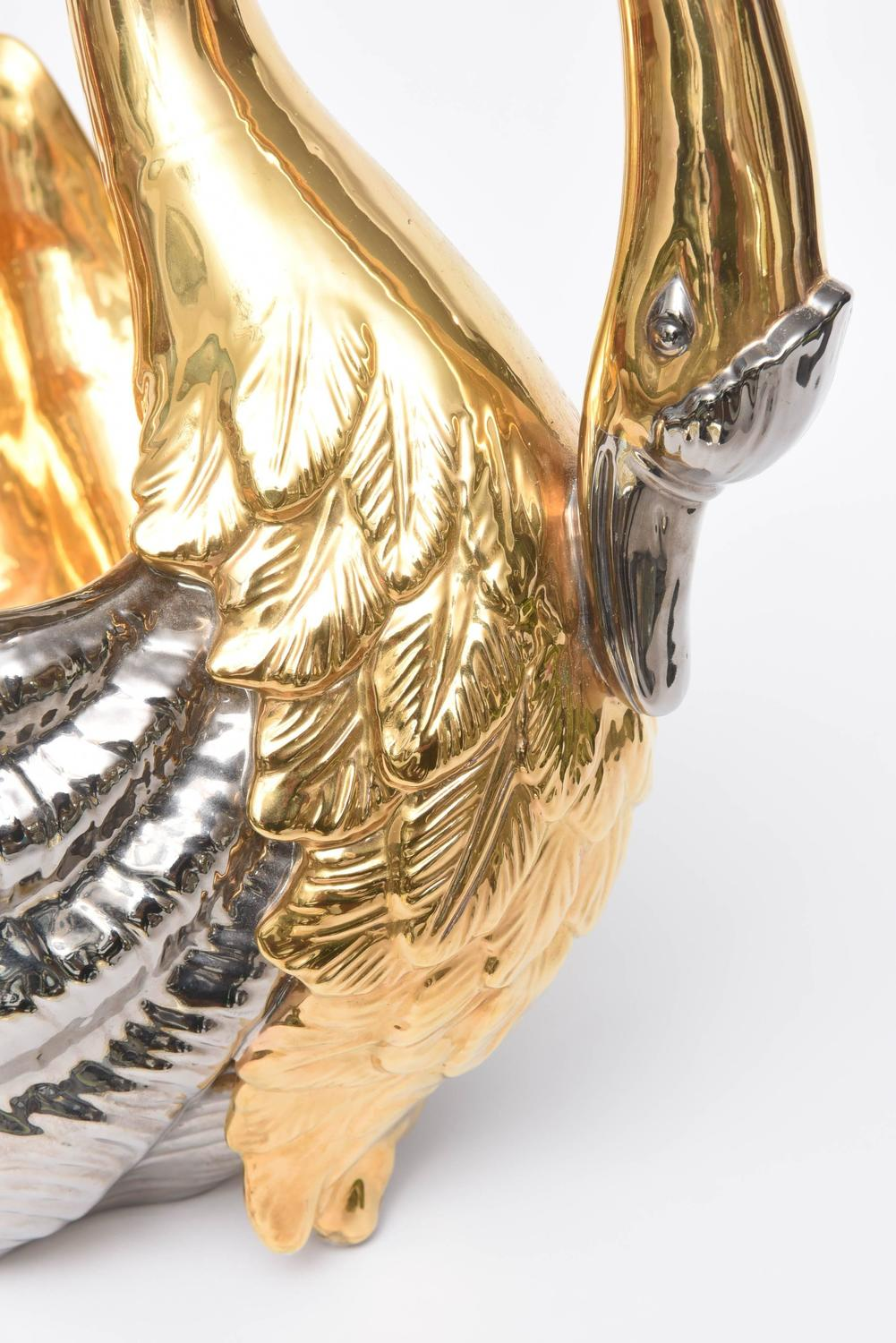 Large silver and gold porcelain swan centerpiece at stdibs