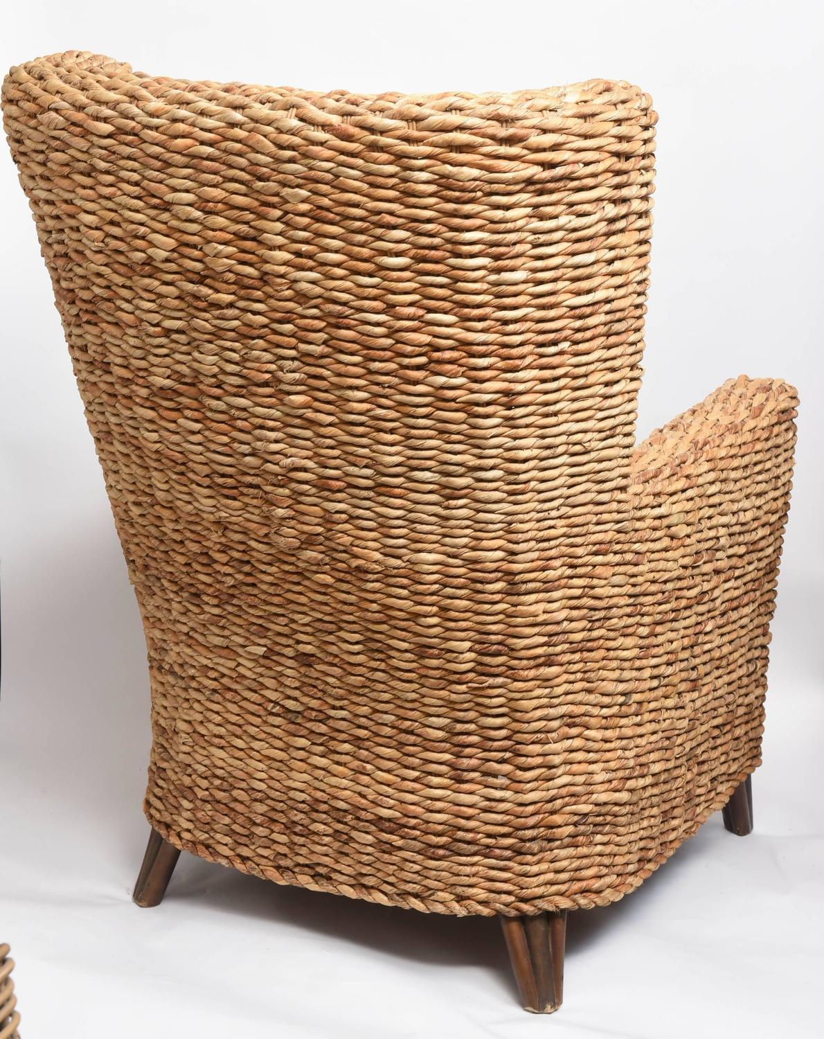 Pair Of Large Woven Banana Leaf Wing Chairs At 1stdibs