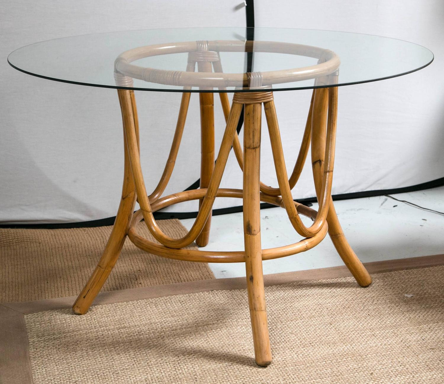 Vintage Bamboo Rattan Round Dining Table And Chairs At
