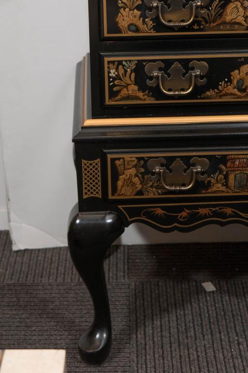 Maddox Chinoiserie Style Black Lacquer Secretaire Desk