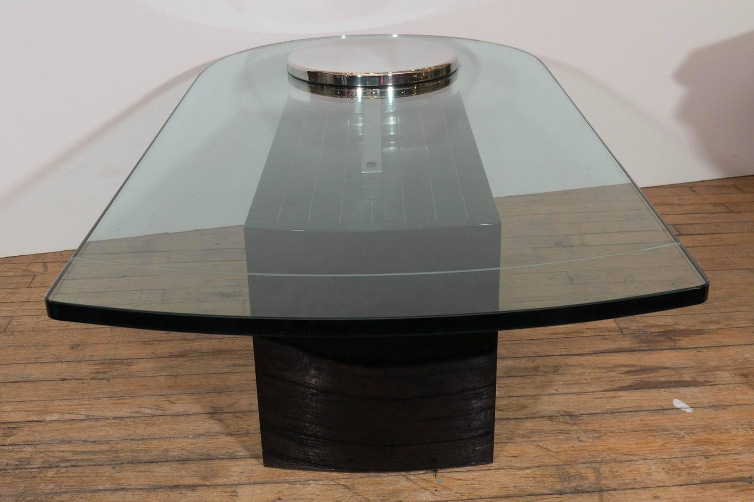 Dakota jackson glass top coffee table with chrome detail on black lacquer base at 1stdibs Black and chrome coffee table