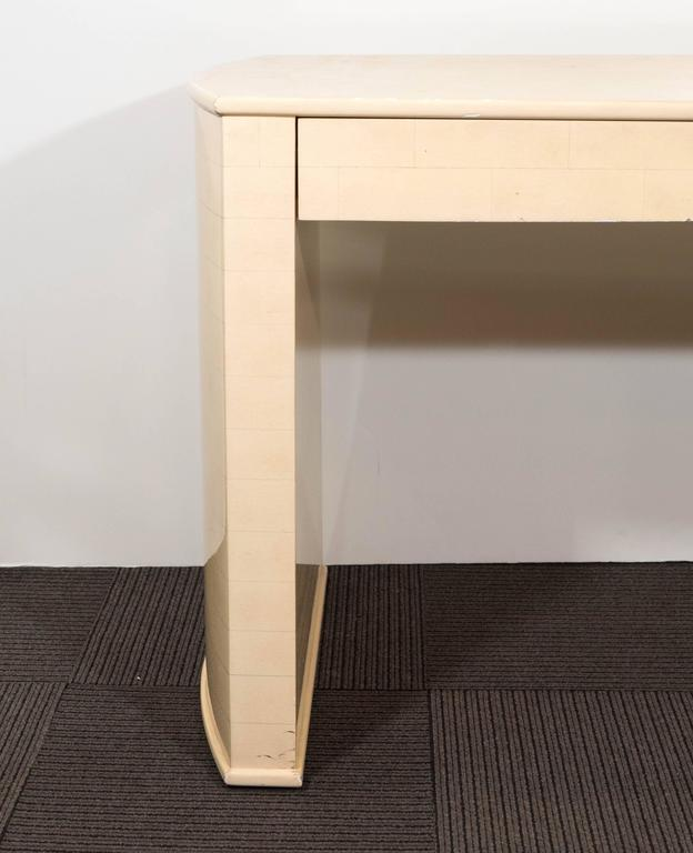 Modern Karl Springer Style Faux Parchment Desk For Sale
