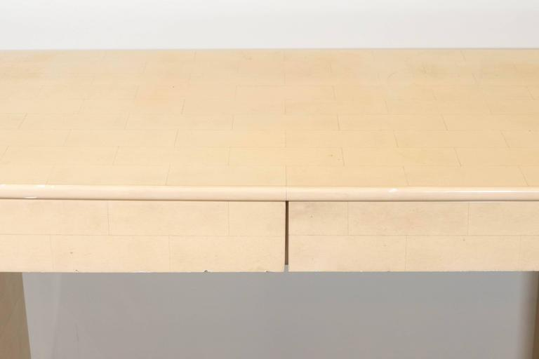 Karl Springer Style Faux Parchment Desk In Good Condition For Sale In New York, NY