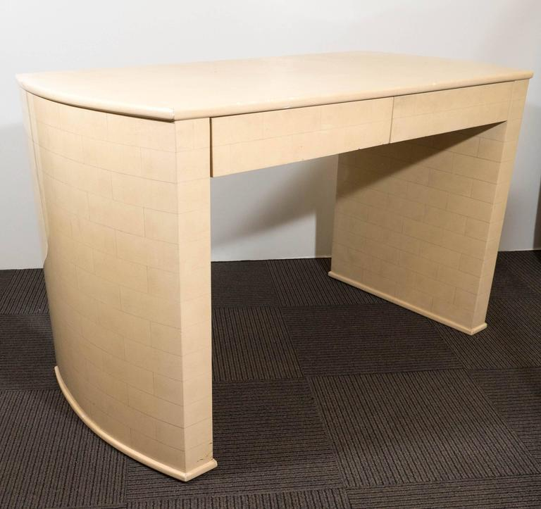 Karl Springer Style Faux Parchment Desk For Sale 2