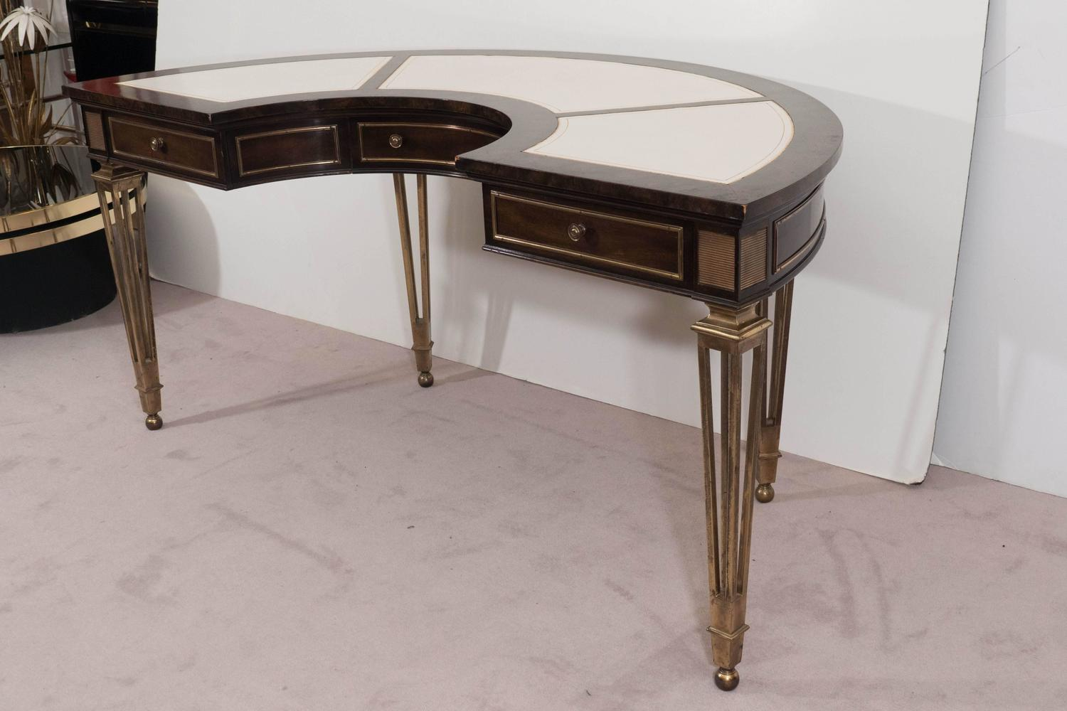 Amazing photo of  Burl Wood and Brass Demilune Desk with White Leather Tops at 1stdibs with #604A39 color and 1500x1000 pixels