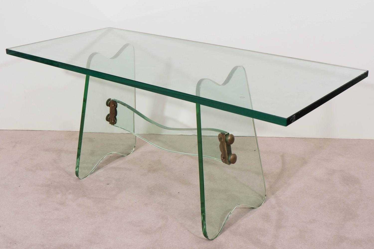 Midcentury Italian Glass Coffee Table With Brass Details At 1stdibs