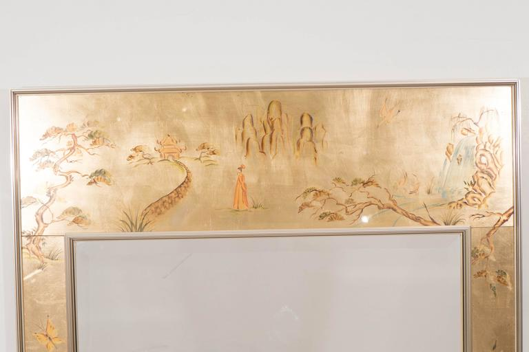 American Labarge Mirror with Hand-Painted Églomisé Frame in the Chinoiserie Style For Sale
