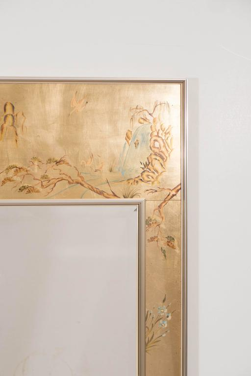 Beveled Labarge Mirror with Hand-Painted Églomisé Frame in the Chinoiserie Style For Sale