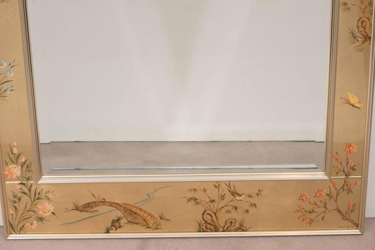 Late 20th Century Labarge Mirror with Hand-Painted Églomisé Frame in the Chinoiserie Style For Sale