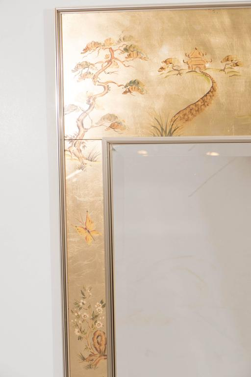 Labarge Mirror with Hand-Painted Églomisé Frame in the Chinoiserie Style For Sale 1