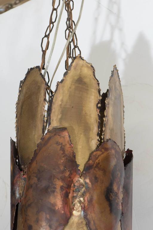 Midcentury Brutalist Torch-Cut Pendant For Sale 1