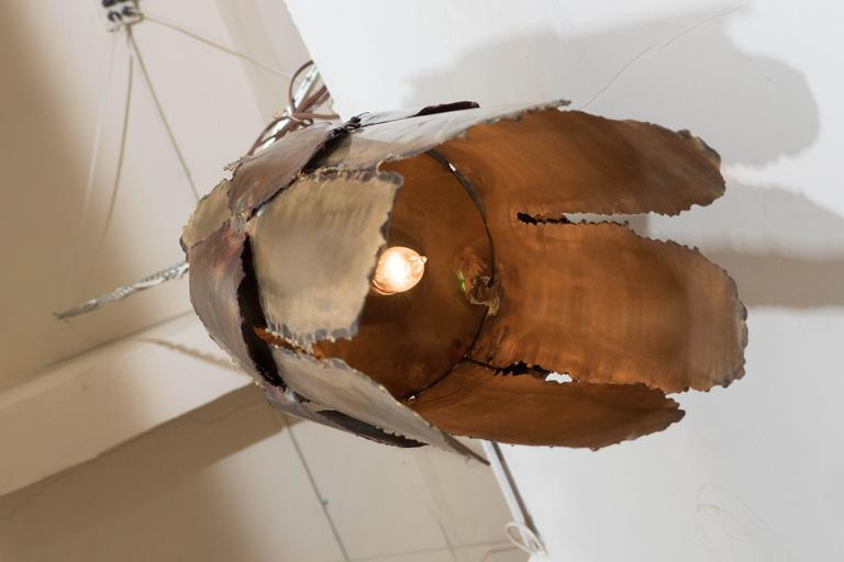 Midcentury Brutalist Torch-Cut Pendant For Sale 2