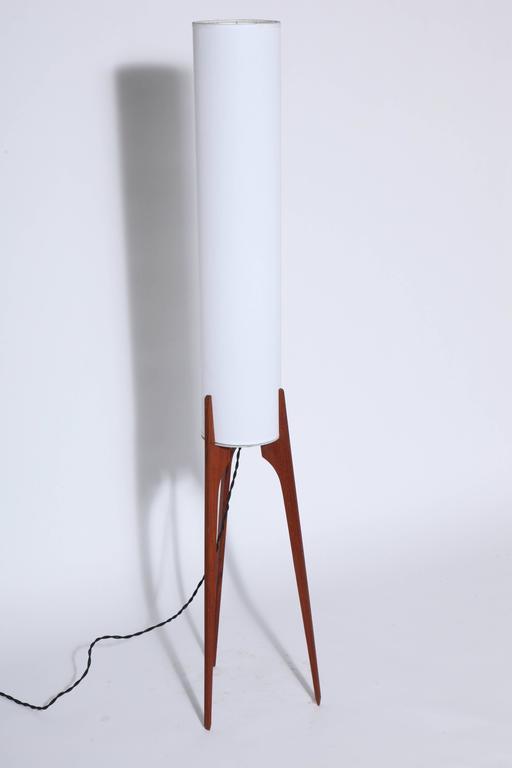 1960s Narrow Danish Teak Floor Lamp With Tripod Legs And