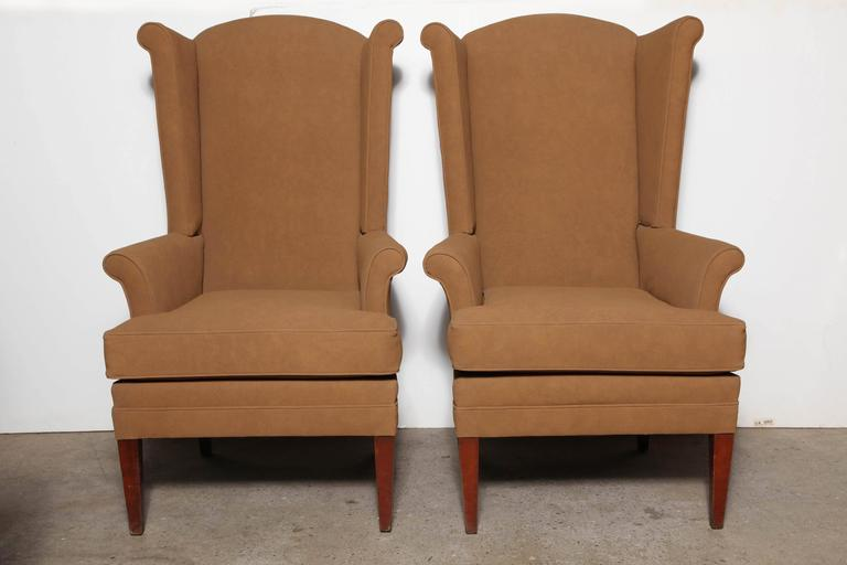 Pair of tall narrow mid century camel highback wingback for Comfortable wingback chair