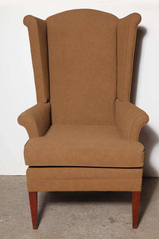 Pair of Tall Narrow Mid Century Camel Highback Wingback Chairs at
